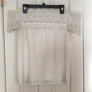 WAYF Lace Off the Shoulder Top in White